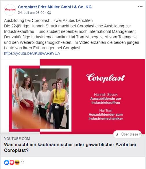 Coroplast Employer Branding Facebook