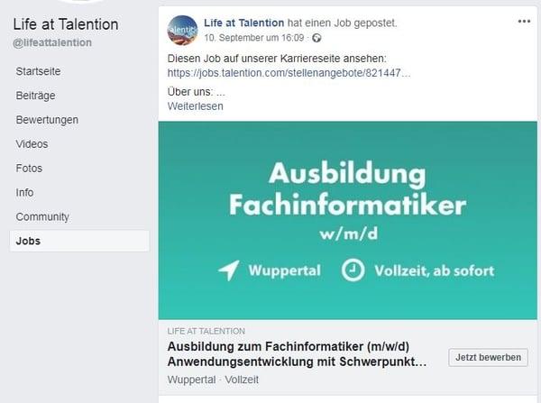 Facebook Stellenanzeige, Talention