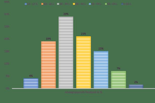 Altersgruppen in Facebook in %