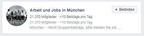 Facebook Gruppe Arbeit und Jobs in München