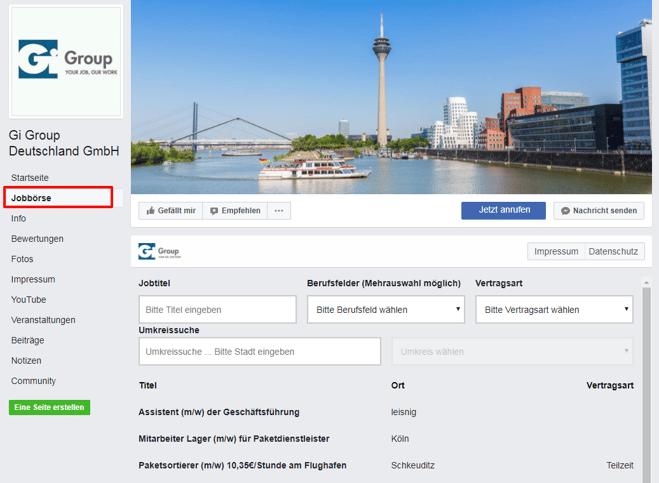 Facebook Jobbörse GiGroup Kundenbeispiel