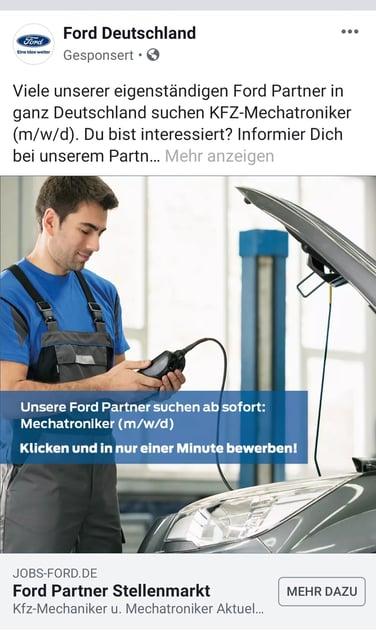 Anzeige auf Facebook von Ford
