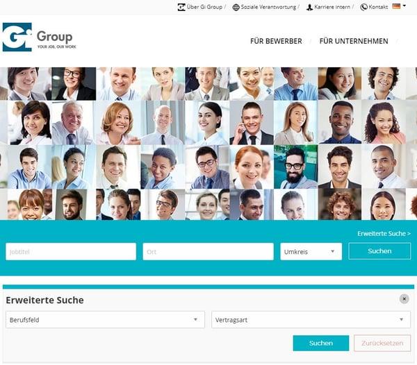 GiGroup, Karriereseite, Navigation, Suche