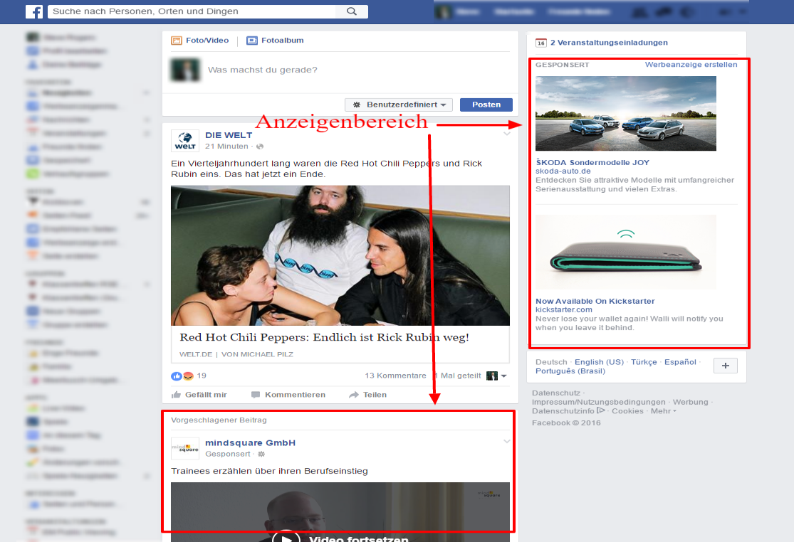 Abbildung: Screenshot des Facebook Anzeigenbereichs