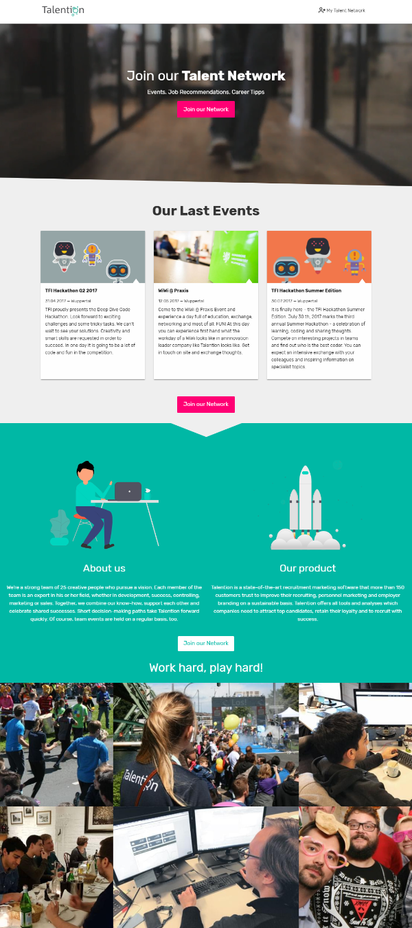 Talent Network Landingpage