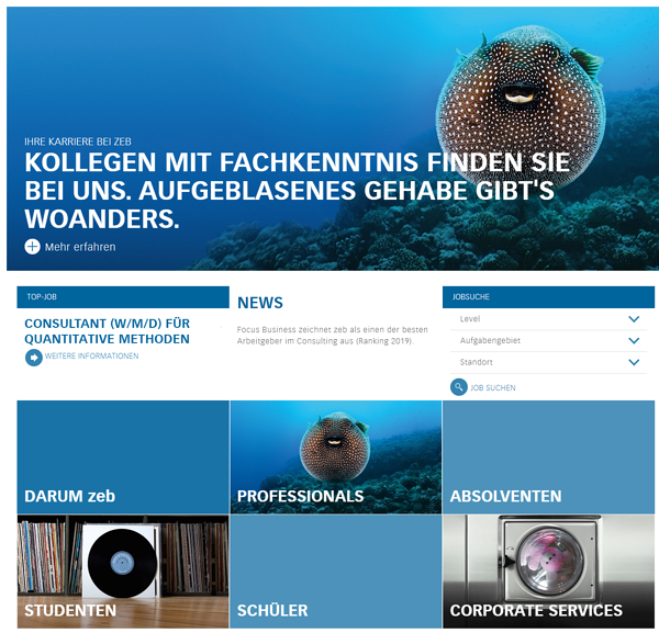 zeb Landing Pages Karriereseite
