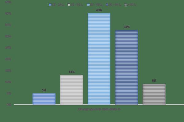 Altersgruppen in Linkedin in %