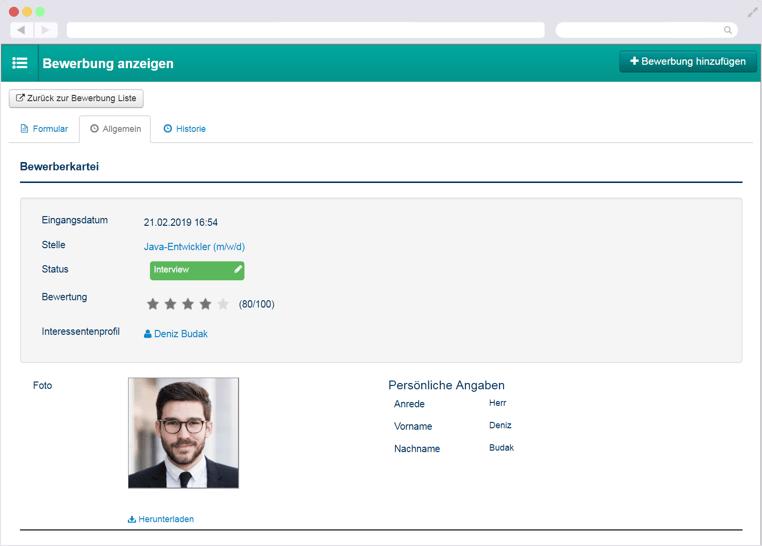 Kandidatenprofil in der Talention Software