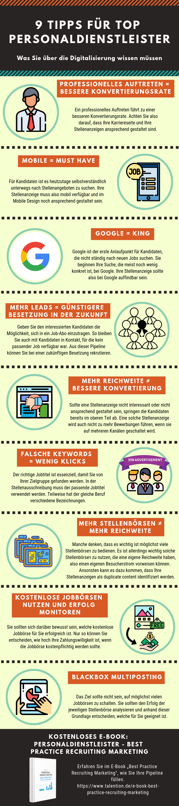 Infografik - 9 Tipps für Personaldienstleister