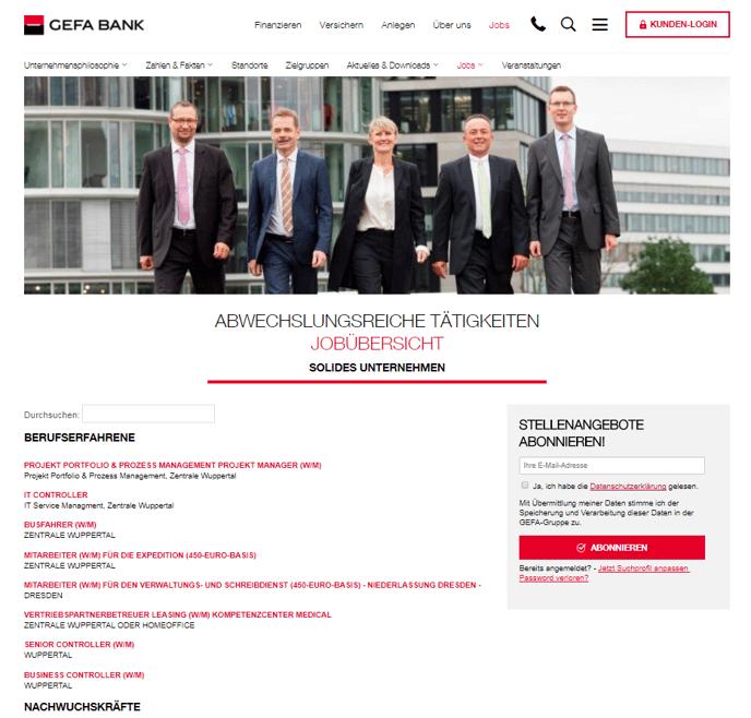 Karriereseite Interview GEFA BANK GmbH