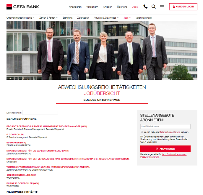 Karriereseite Interview GEFA BANK GmbH