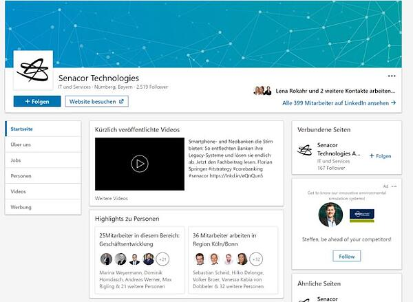 Senacor Technologies auf LinkedIn