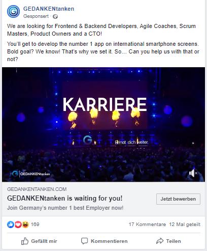Anzeige (Video) auf Facebook von GEDANKENtanken
