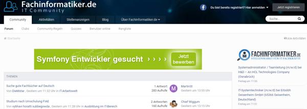 Anzeige auf Fachinformatiker.de