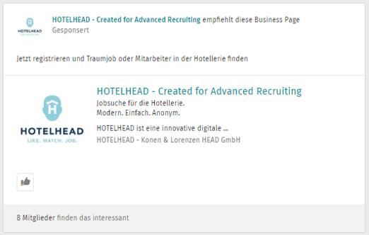 Anzeige auf Xing von Hotelhead