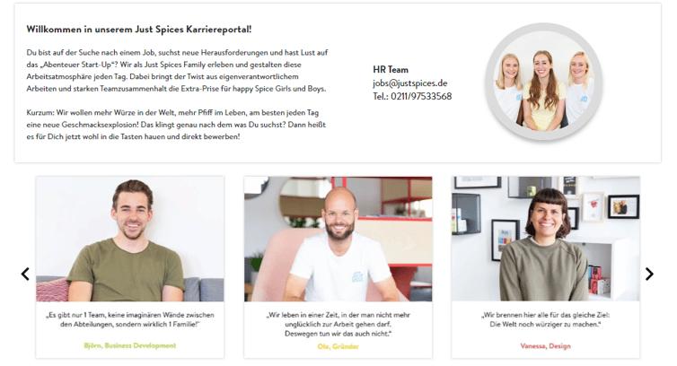 Employer Branding Just Spices - Du auf der Karriereseite