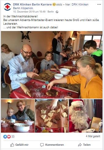 Employer Branding DRK Klinikern Berlin Karriere - Mitarbeiterevent Weihnachtsbäckerei