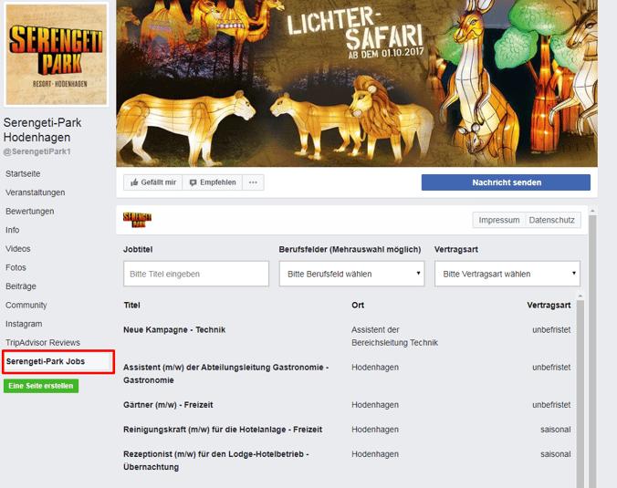 Facebook Jobbörse Serengeti Park Kundenbeispiel
