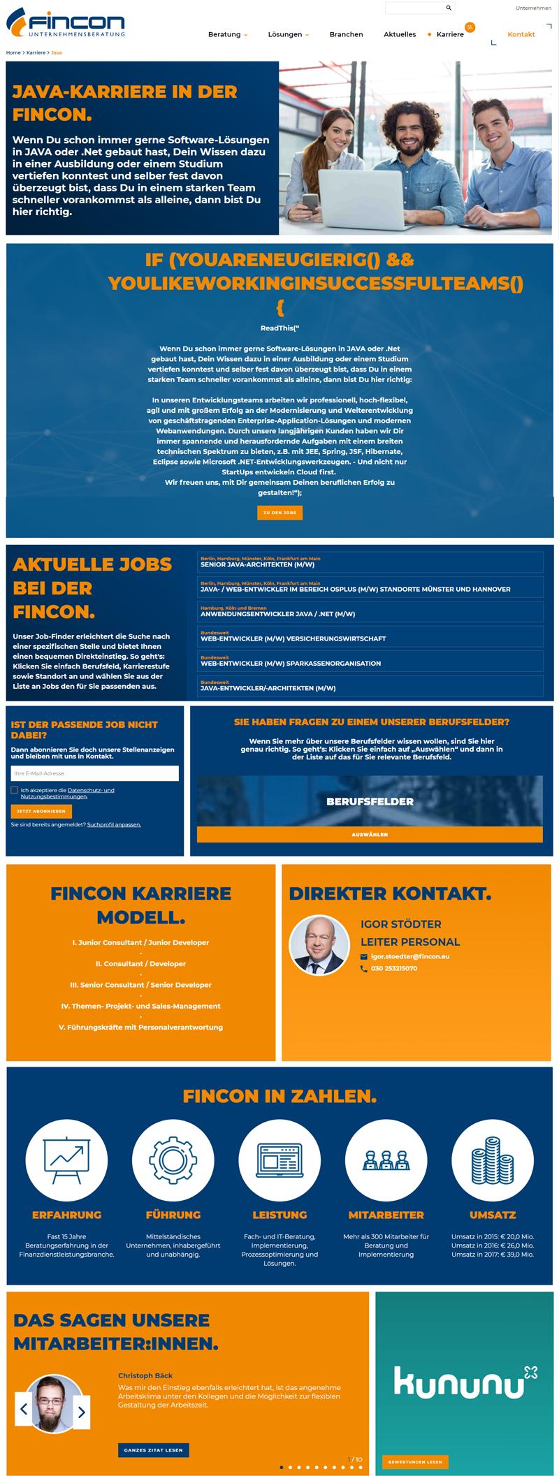 Beispiel eine Landingpage FINCON