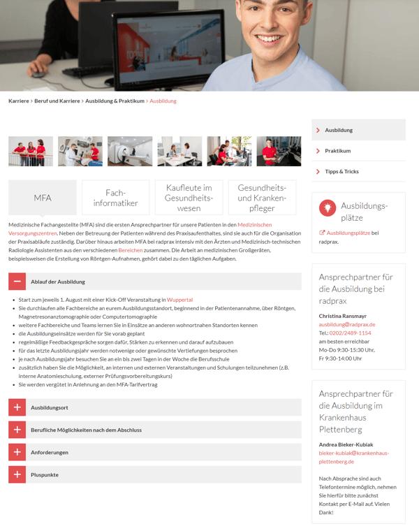 Radprax Landing Page Karriereseite