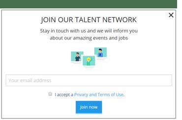 Pop-up-Formular Talent Pool - Talention