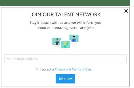 Pop-up-Formular Talent Pool Talention