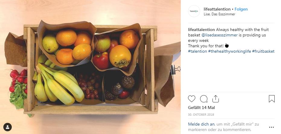 Talention bietet jede Woche einen Obstkorb für die Mitarbeiter an