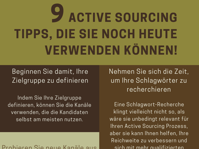 9 Active Sourcing Tipps - Infografik