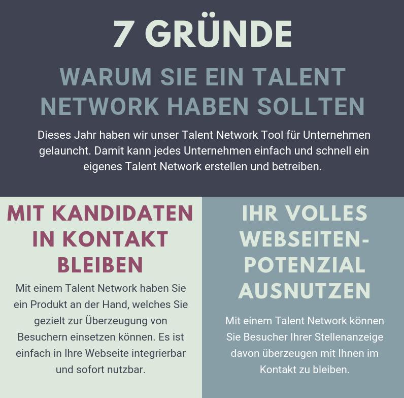Infografik: 7 Gründe warum Sie ein Talent Network haben sollten