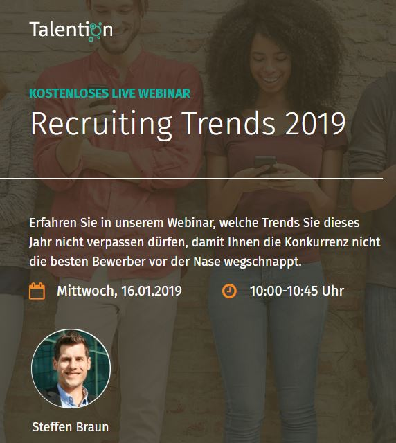 Talention Webinar im Januar: Recruiting Trends 2019