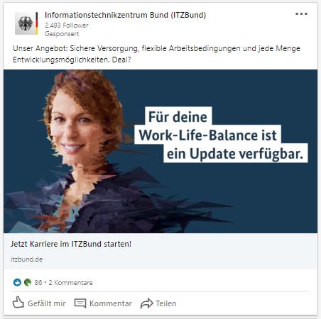 Anzeige auf Linkedin vom ITZBund