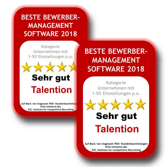 Deutschlands Beste Bewerbermanagement Software 2018 / 2019:Talention zweifach ausgezeichnet