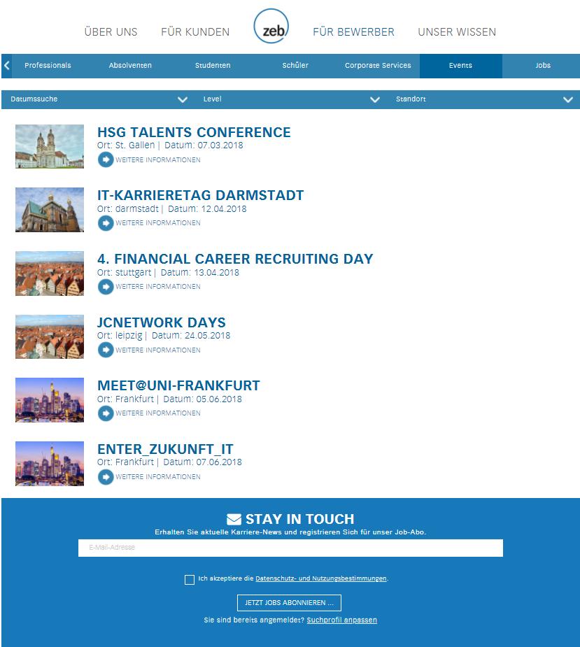 Screenshot: Event-Übersichtsseite der zeb - Talention